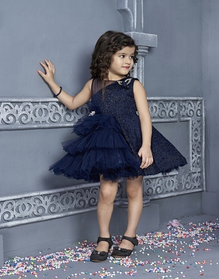 blue polyester kids frocks