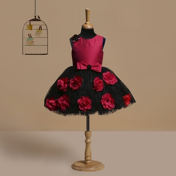 red polyester kids frocks