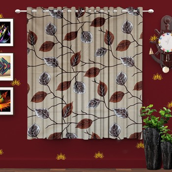 A Cream Printed Polyester Window Curtain