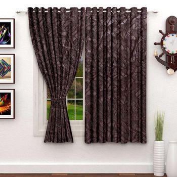 A Dark Brown Polyester Window Curtain