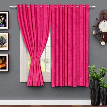 A Magenta Polyester Window Curtain