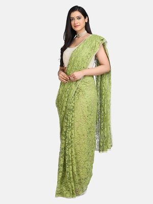 Parrot green plain net saree with blouse