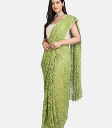 Parrot green plain net saree with blouse