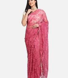 Pink plain net saree with blouse