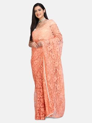Peach plain net saree with blouse