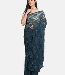Blue Brasso Net Saree With Blouse