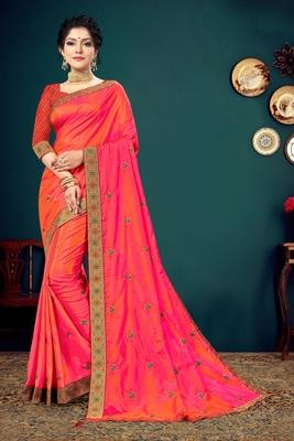 Indian Women Orange and Pink Vichitra silk Embroidered with Border Designer Saree