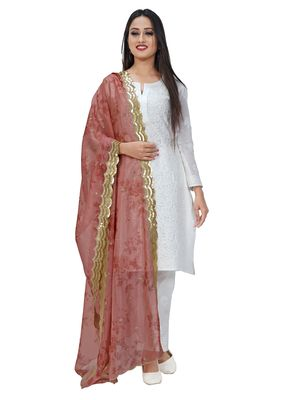 Fabric and Lace Printed Rose Organza Party & Festive Women's Dupatta or Chunni
