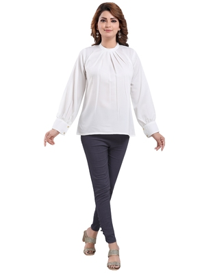 Off-white plain crepe short-kurtis