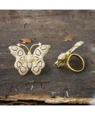 golden classy butterfly design diamond ring