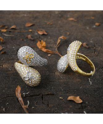 golden silver unique stylish  diamond ring