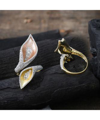 three tone leaf pattern designer diamond ring