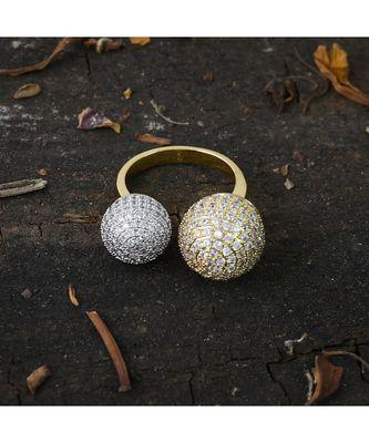golden silver stylish designer diamond ring