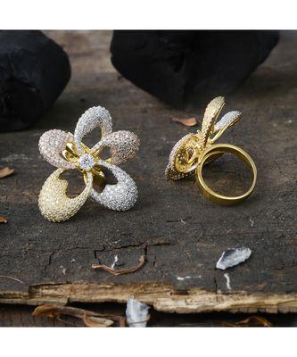 three tone stylish flower pattern classy ring