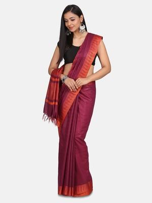 Magenta Hand Woven Poly Silk Handloom Sarees
