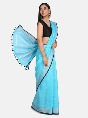 Sky Blue Woven Linen Saree With Blouse