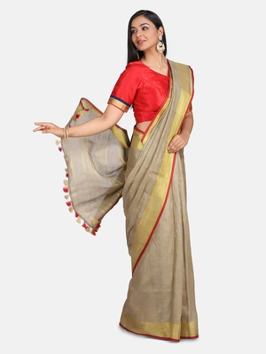 Golden Linen Saree With Blouse