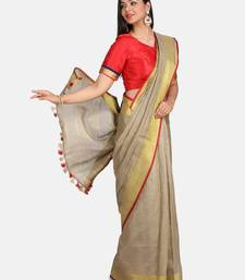 Golden Linen Saree With Blouse