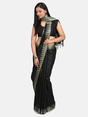 Black Hand Woven Poly Silk Handloom Sarees