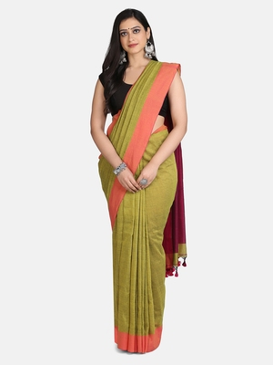 Pesta Plain Work Khadi Cotton Handloom Saree With Blouse