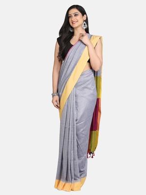 Grey Melange Plain Work Khadi Cotton Handloom Saree With Blouse