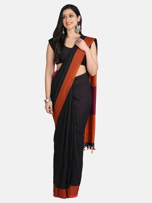 Black Plain Work Khadi Cotton Handloom Saree With Blouse
