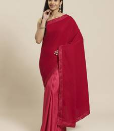 Red plain velvet saree with blouse