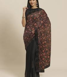Black printed velvet saree with blouse