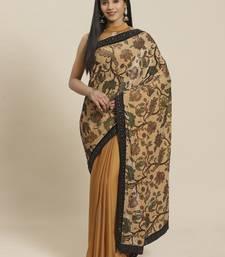 Beige printed velvet saree with blouse