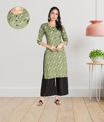 Women Rayon Printed Stright Kurti (Green)
