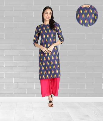 Pure Cotton Ikat Printed Straight Women Kurti (Blue)