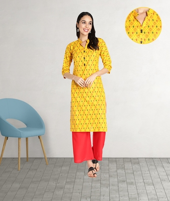 Pure Cotton Printed Straight Women Kurti (Mustard Yellow)