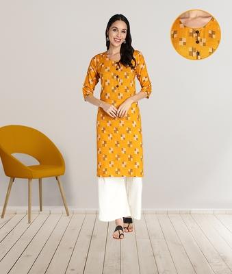 Women Rayon Printed Stright Kurti (Mustard Yellow)