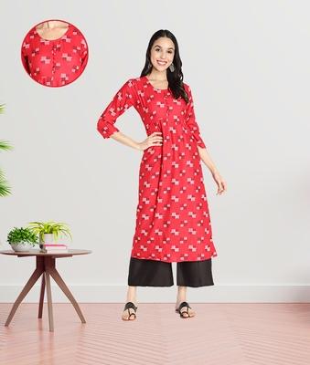 Women Rayon Printed Flared Kurti (Red)
