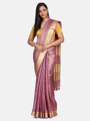 Purple Tissue Linen Handwoven Saree With Blouse Piece