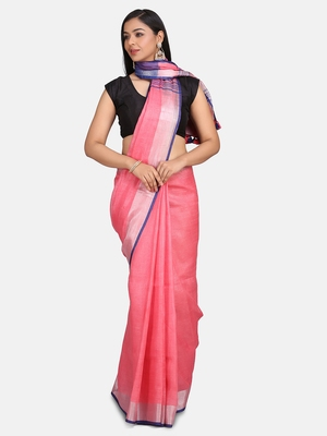 Pink Woven Linen Saree With Blouse