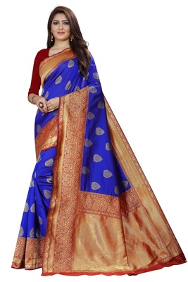 Royal blue pure Rapier weaving soft silk Saree