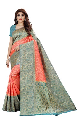 peach tissue sarees