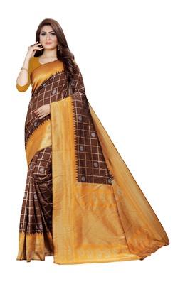 yellow kuppadam border with silver zari zigzag patern silk saree