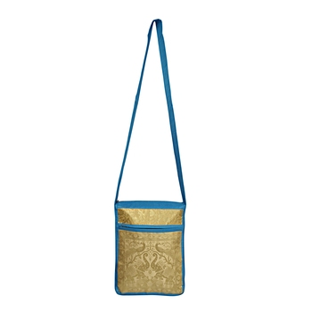 Lalhaveli Shoulder Handbag Women Cross body Bag Elephant & Peacock Design Brocade Silk Purse Pouch (Turquoise)