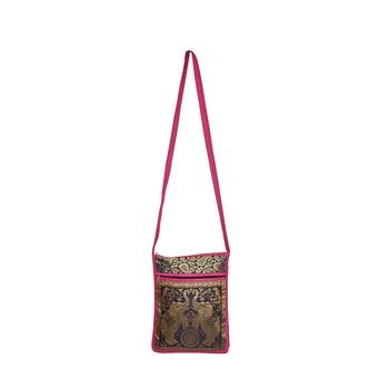 Lalhaveli Traditional Style Brocade Silk Elephant Design Women Tote Bag Cross Body Bag for Girls Shoulder Bag