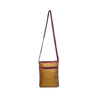Lalhaveli Wedding Gift for Relative Brocade Silk Elephant Design Women Fashion Cross Body Bag Handbag (Pink,10X15 Inch)