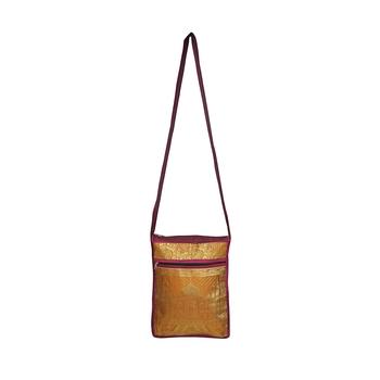 Lalhaveli Women Sling Bag for Wedding Gift Tajmahal Design Brocade Silk Girls Shoulder Handbag (Pink,10X15 Inch)