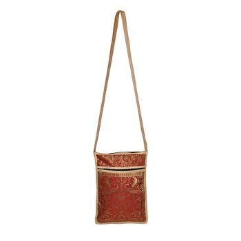 Lalhaveli Fashion Bag Hobos Purse Clutches Brocade Silk Animals Print Handmade Shoulder Bag Handbag (10X15,Beige)