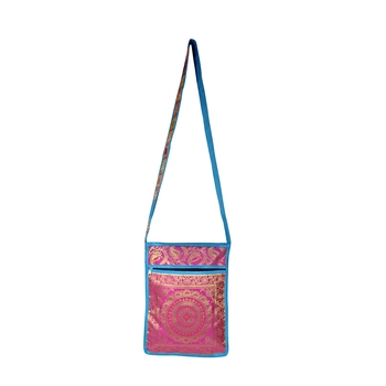 Lalhaveli Handmade Brocade Silk Manadala Design Tote Sling Shoulder Bag Women's Fashion Bag Handbag (10X15 Inch)