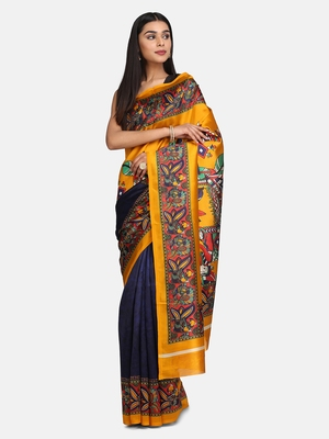 Blue And Mustard   Plain Silk Blend Saree With Blouse