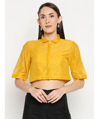Desi Weavess Golden Yellow Solid Blouse