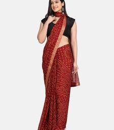 Maroon printed chiffon saree with blouse