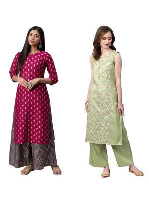 Green printed art silk combo-kurtis