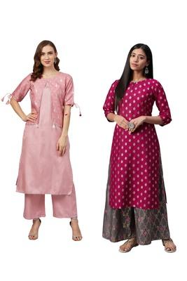 Pink printed art silk combo-kurtis